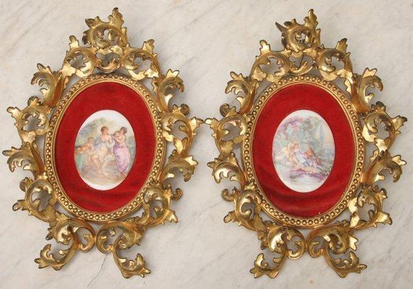 1: Pair of heavy Rococo Victorian frames, gilt finish o