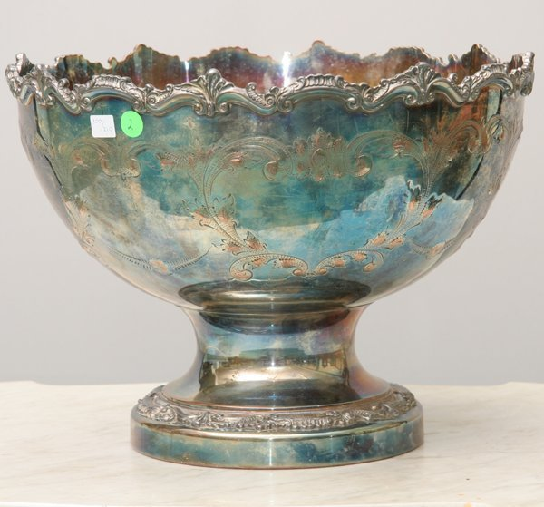 """2: Large 16"""" silver on copper pedestal punch bowl. Hand"""