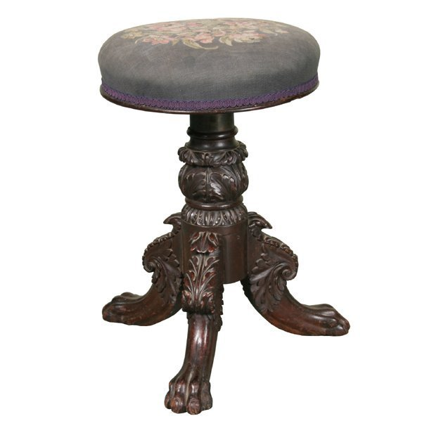 3: Early 1800 carved Federal piano forte stool, mahogan