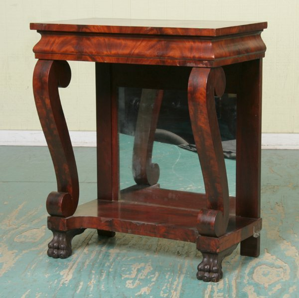 6: Unusual small size Empire Revival pier table, flame