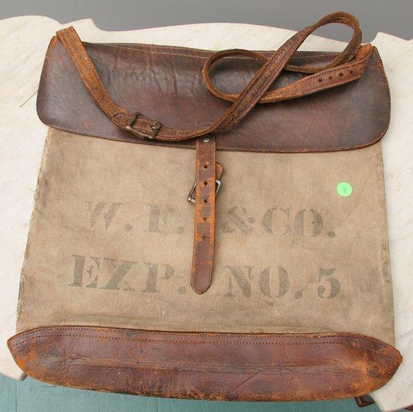 """9: 19th Century shoulder bag, stenciled """"W.F. & Co., ex"""
