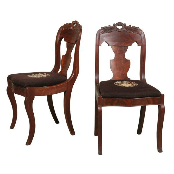 20: Set of six mid 1800 Empire saber leg dining chairs,