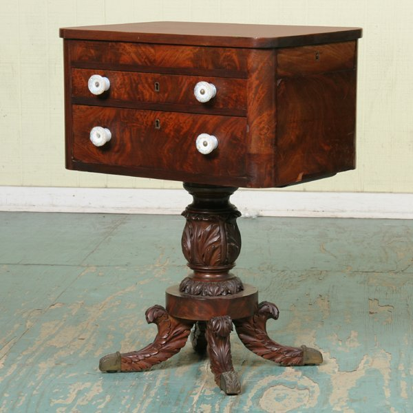 23: Early 1800 carved Federal two drawer workstand, hig