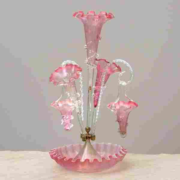 64: Fine Victorian art glass epergne with baskets, cran