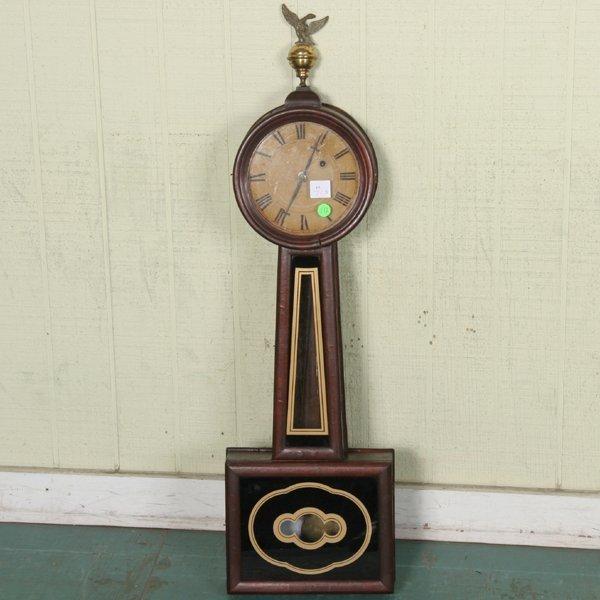 172: Mid 1800 Massachusetts banjo clock, mahogany case,