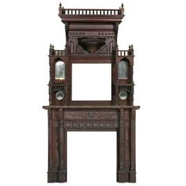 256: Large late 1800 Eastlake Victorian fireplace mantl