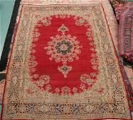 313 Old Persian Kerman rug 96 x 126 red field wi