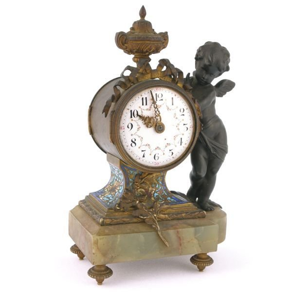 "402: ""c. mid 1800 small French dresser clock, white ena"