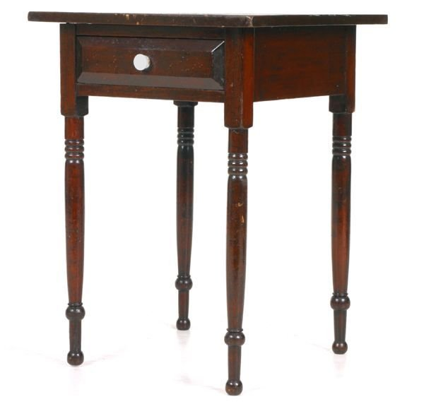 "404: ""Early 1800 Sheraton one drawer stand, softwood, b"