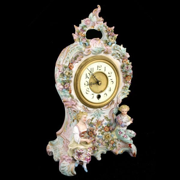 "412: ""c. mid 1800 rococo French porcelain mantle clock,"