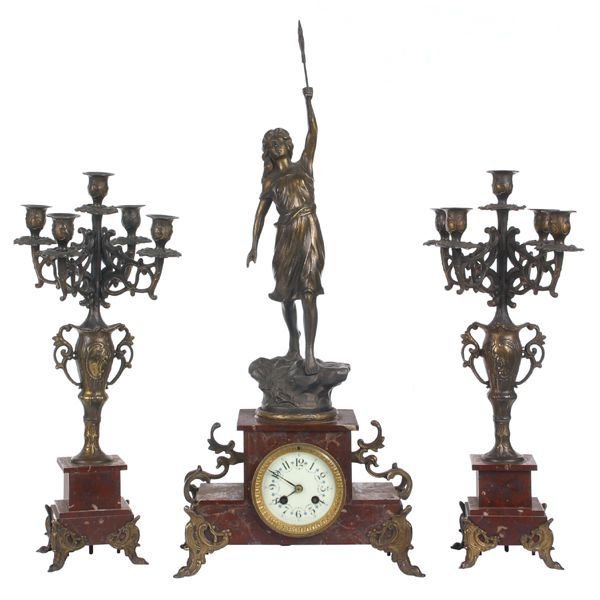 "414: ""c. late 1800 three piece clock set, French, rouge"