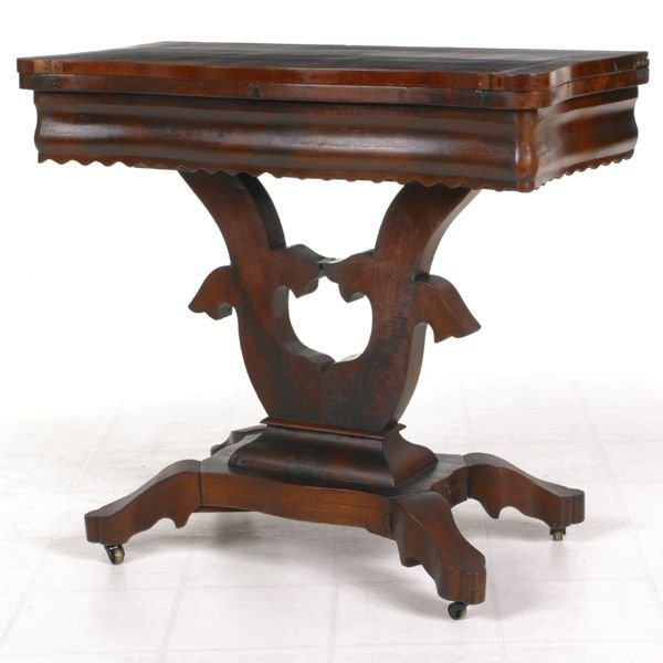 "419: ""c. 1840 Empire fold over card table, matched flam"