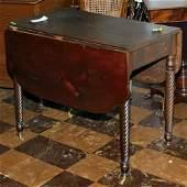 "581: ""c. 1810 Sheraton drop leaf table, solid mahogany,"