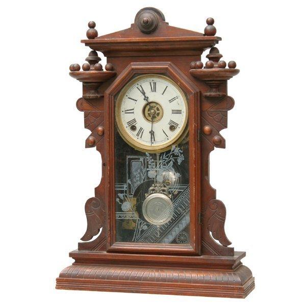 1003: Late 1800 Renaissance Victorian mantel clock, wal
