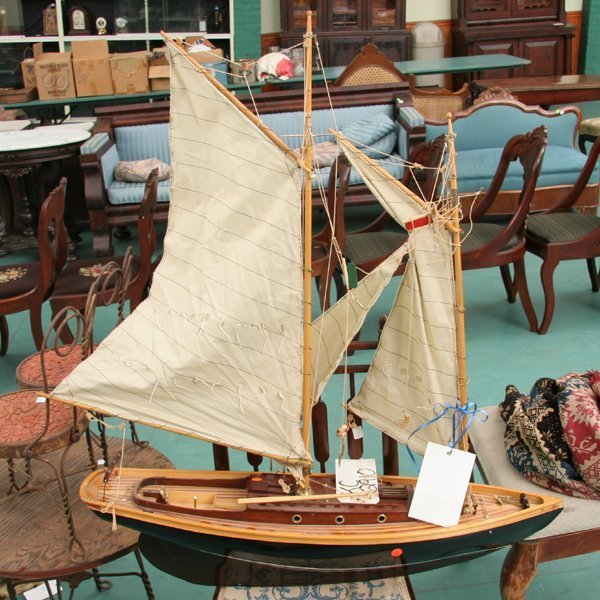 "1008: Large sailboat model, 42""t, striped laminated dec"