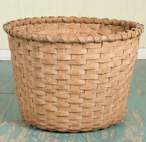 "1009: 19th Century woven cotton basket, split oak, 28""d"