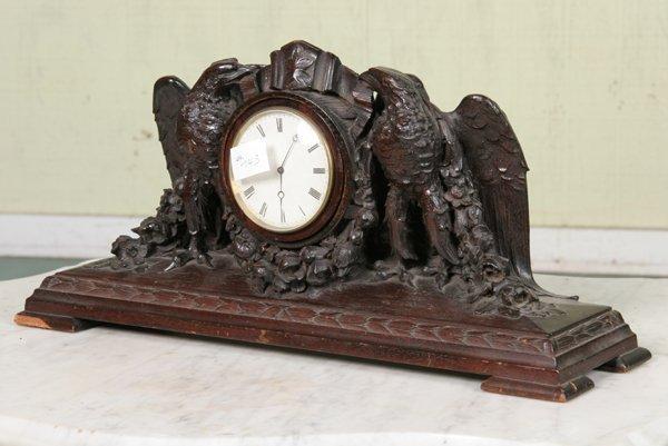 1011: Late 1800 Renaissance Revival mantle clock, carve