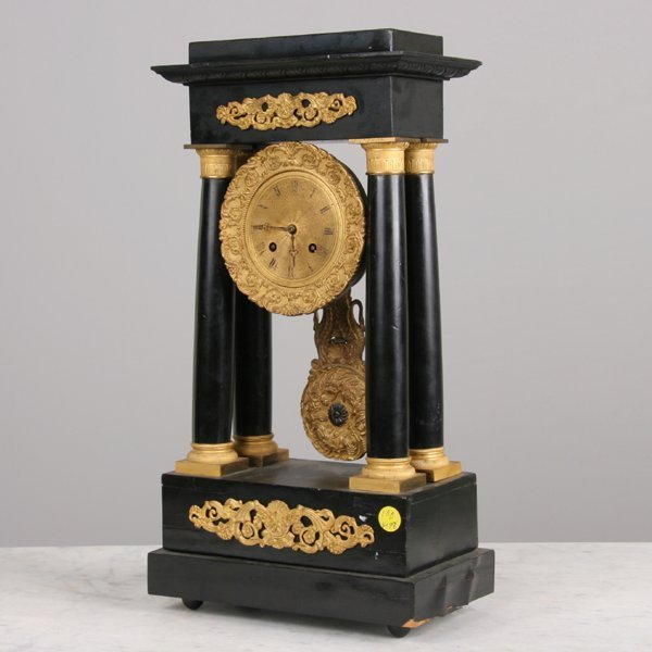 1012: Mid 1800 French Empire mantle clock, brass moveme