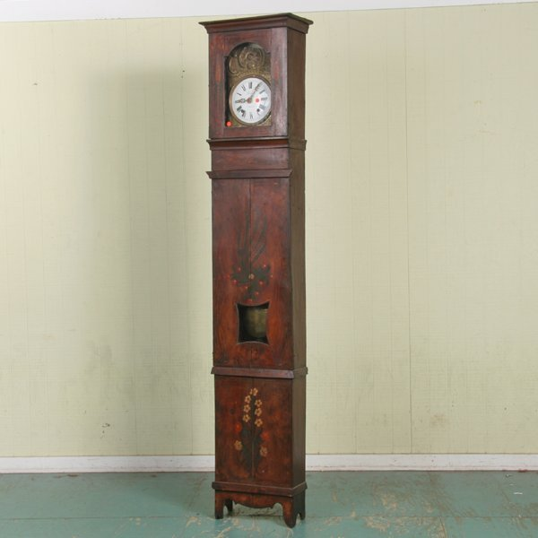 1013: Mid 19th Century tallcase clock, French, iron and