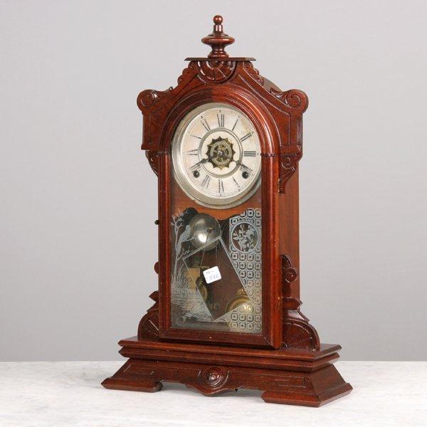 1014: Late 1800 Renaissance Victorian mantle clock, wal