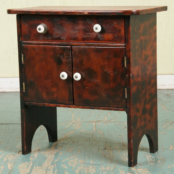 1017: Primitive child's server/sideboard, birch, drawer