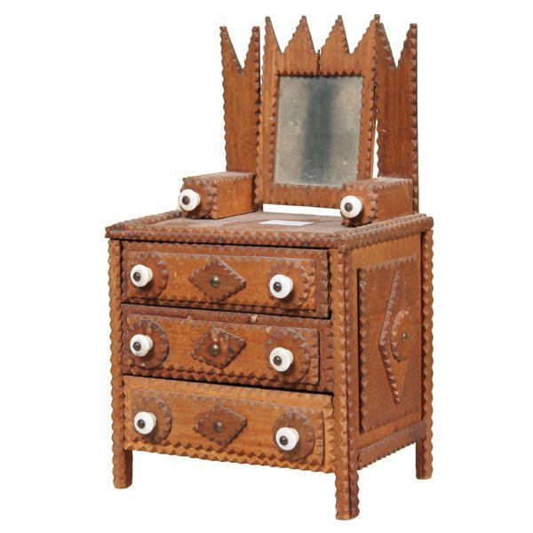 "1022: C1900 tramp art child's dresser, 14""t, made from"