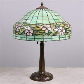 "1057: Leaded glass table lamp, 16""dia domed shade, grad"