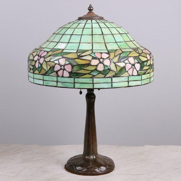 "1057: Leaded glass table lamp, 16""dia domed shade, grad"