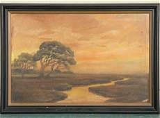 1331: Lot of three pictures, 1) painting of swamp on ar