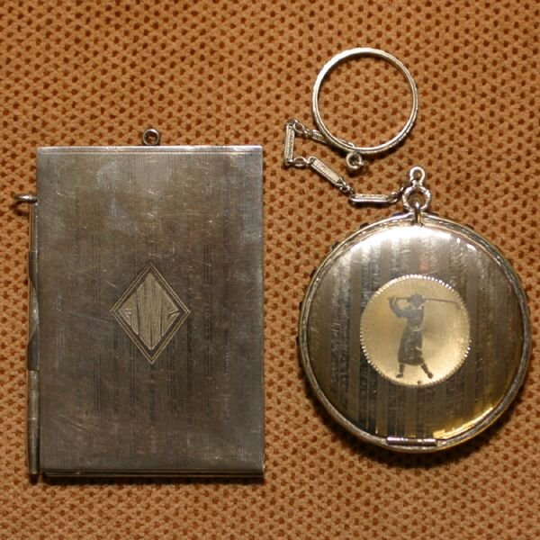 1: Two early 1900 Art Deco golf items, 1-Sterling foldi