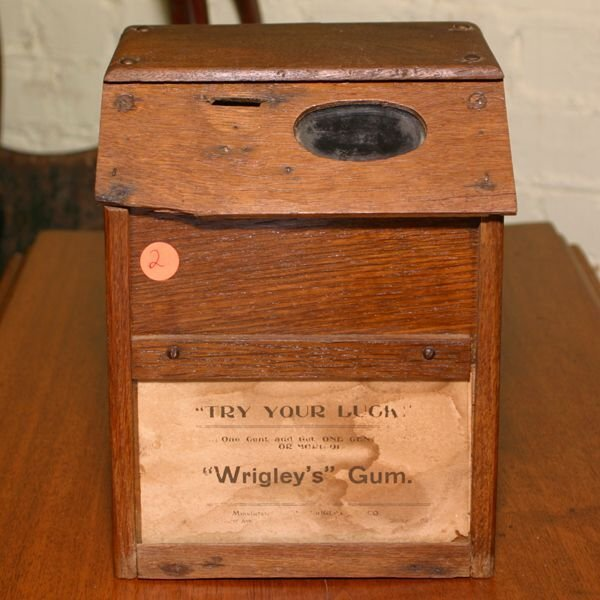 2: C. 1900 wooden Wrigley's gum dispenser, solid oak, 1