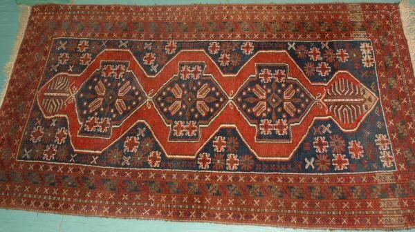 "4: 7' x 3'8"" Antique Persian rug. Triple geometric meda"