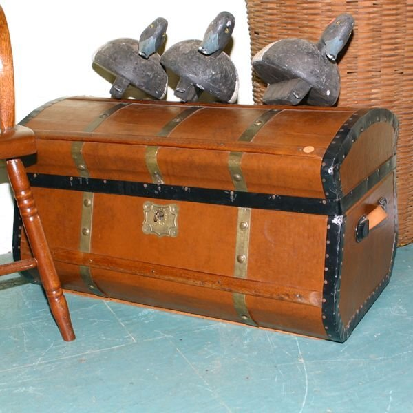 6: 19th century stagecoach trunk, shaped sides and dome