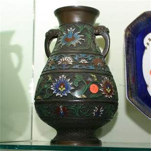 Chinese bronze champleve vase, open handles with dra