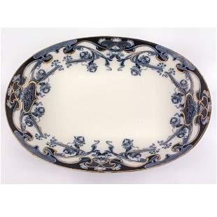 "Flow blue platter, 16 1/2"" x 12"", Iris pattern, Roy"