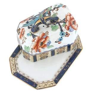 Gaudy ironstone cheese dish, Shanghai pattern, Keel