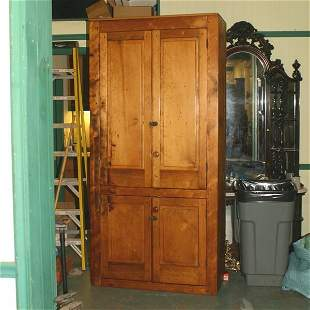 19th century flat wall cupboard, OH, white pine, be