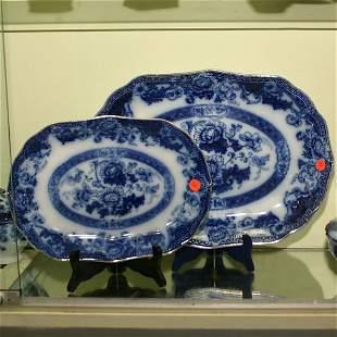Two piece lot flow blue platters, Verona pattern, W