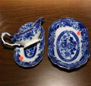 Two piece lot of flow blue, Verona pattern, Wood &