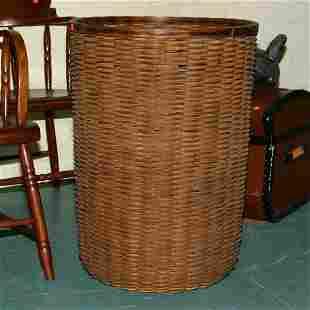 "Large splint basket, 28""t 21""d . Nice old patina, f"