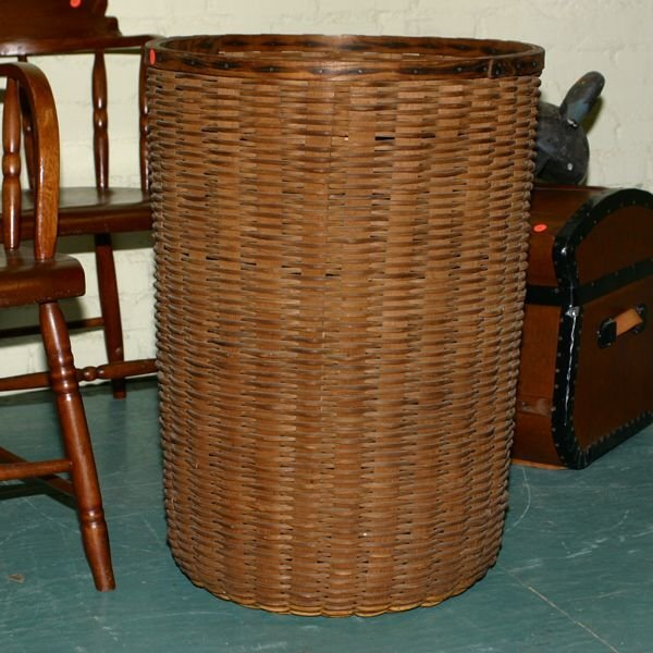 "19: Large splint basket, 28""t 21""d . Nice old patina, f"