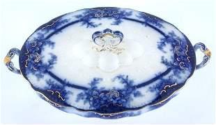 Flow blue covered vegetable bowl, Kelvin pattern, A
