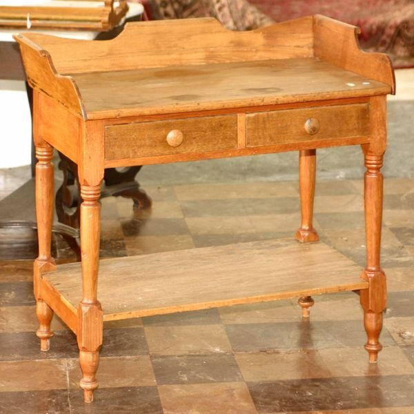 24: c. Early 1800's Sheraton open washstand. White pine