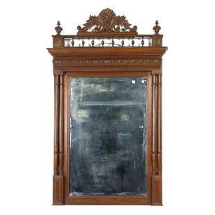 Renaissance hanging wall mirror, solid oak, French,