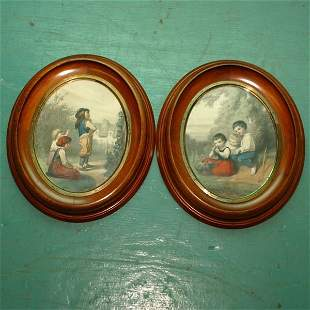 Pair of c. 1870 Renaissance oval frames, solid waln