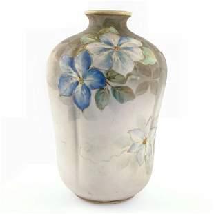 "Handpainted Nippon vase, green/M/wreath mark, 7"" ta"