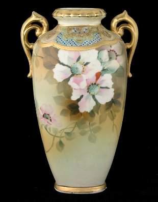 "Porcelain Nippon vase, green M/wreath mark, 9"" tall"