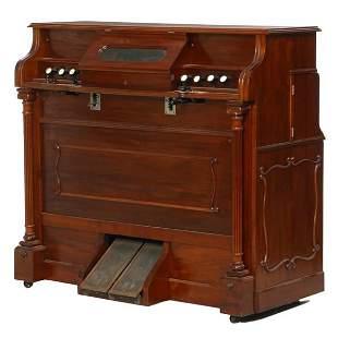 Rare c. late 1800 player for pump organ, mahogany,