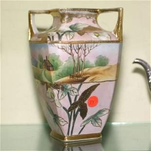 """9""""t porcleain double open handls, 7"""", vase. Nippon"""