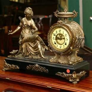 19th century statue mantel clock, probably Ansonia,
